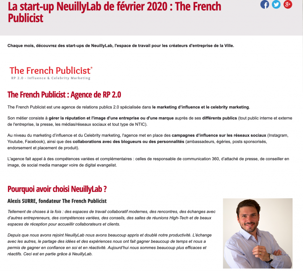 Interview The French Publicist Agence de relations publics 2.0, marketing d'influence & celebrity marketing